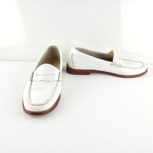 Weejuns White Leather Penny Loafers